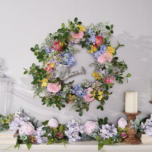 Garden Floral Wreath w/ Watering Can